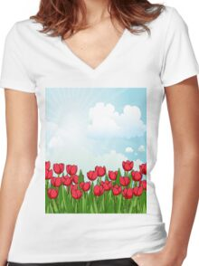 Pretty Red Tulips and Sky Women's Fitted V-Neck T-Shirt