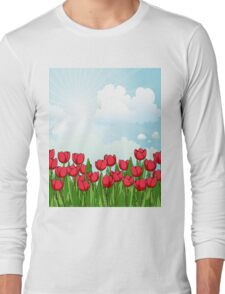 Pretty Red Tulips and Sky Long Sleeve T-Shirt