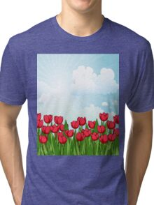 Pretty Red Tulips and Sky Tri-blend T-Shirt