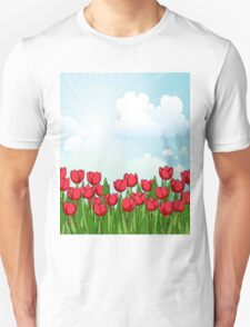 Pretty Red Tulips and Sky T-Shirt