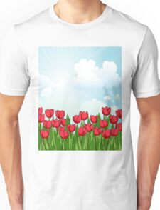 Pretty Red Tulips and Sky Unisex T-Shirt