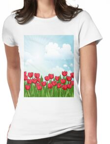 Pretty Red Tulips and Sky Womens Fitted T-Shirt