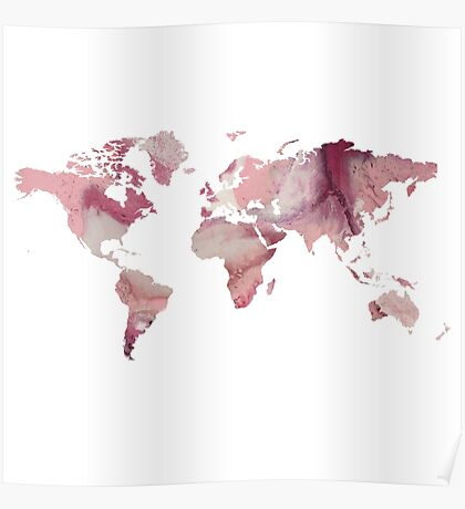 World Map - Pink Marble Poster