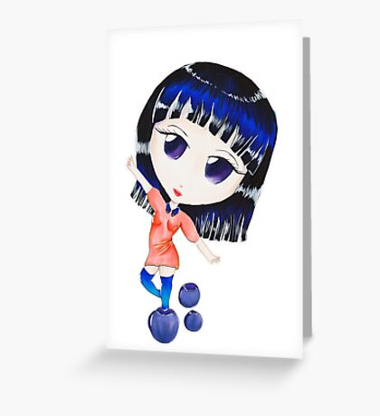 Blueberry Chibi Greeting Card