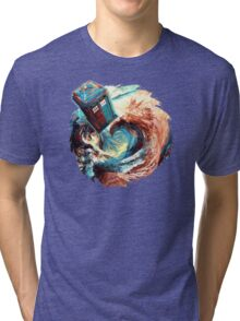 Time travel Phone box at Starry Dark Vortex Tri-blend T-Shirt