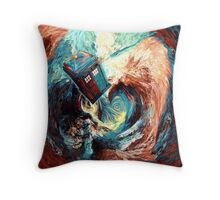 Time travel Phone box at Starry Dark Vortex Throw Pillow