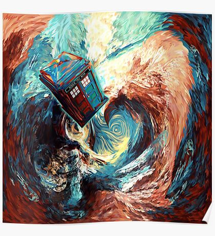 Time travel Phone box at Starry Dark Vortex Poster