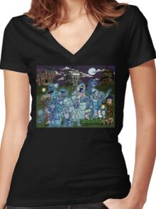 Grim Grinning Ghosts Women's Fitted V-Neck T-Shirt