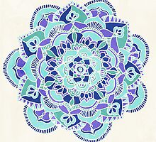 Royal Blue, Teal, Mint & Purple Mandala Flower by Tangerine-Tane