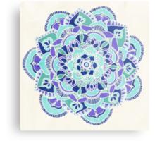 Royal Blue, Teal, Mint & Purple Mandala Flower Metal Print