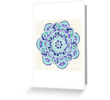 Royal Blue, Teal, Mint & Purple Mandala Flower Greeting Card