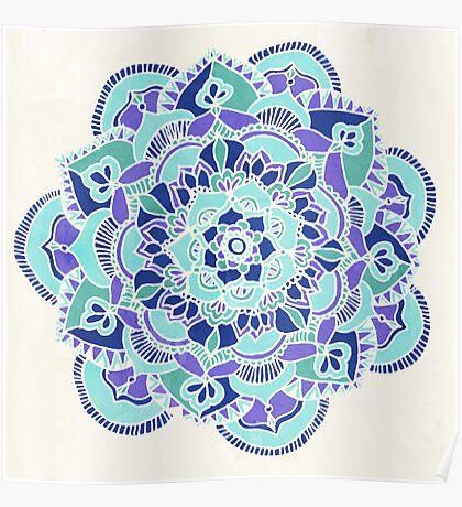 Royal Blue, Teal, Mint & Purple Mandala Flower Poster