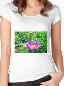Blooming Purple Flowers Women's Fitted Scoop T-Shirt