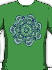 Royal Blue, Teal, Mint & Purple Mandala Flower T-Shirt