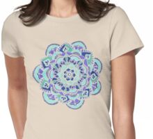 Royal Blue, Teal, Mint & Purple Mandala Flower Womens Fitted T-Shirt