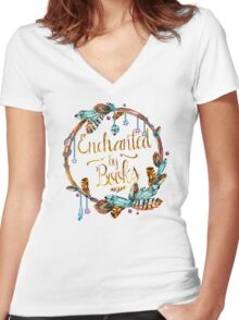 Enchanted by Books Women's Fitted V-Neck T-Shirt