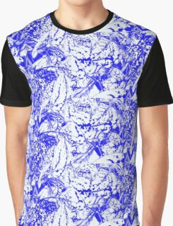 Blue and White Abstract Graphic T-Shirt