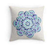 Royal Blue, Teal, Mint & Purple Mandala Flower Throw Pillow