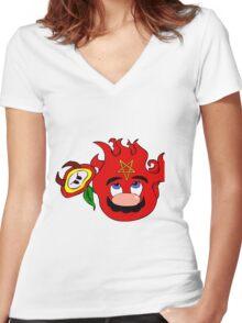 satan mario flower power Women's Fitted V-Neck T-Shirt