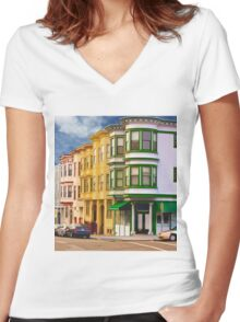 San Francisco Architecture Women's Fitted V-Neck T-Shirt