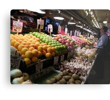 Pikes Place Market Fruit and Vegetable stands...... Metal Print