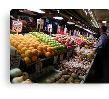 Pikes Place Market Fruit and Vegetable stands...... Canvas Print