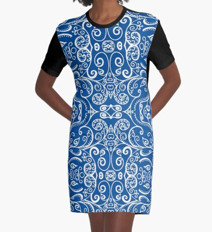 Silent Era, Blue Graphic T-Shirt Dress