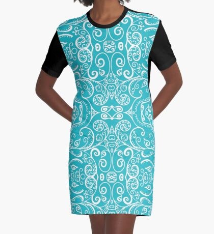 Silent Era, Turquoise Graphic T-Shirt Dress
