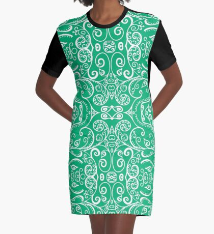 Silent Era, Green Graphic T-Shirt Dress