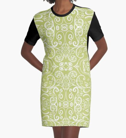 Silent Era, Avocado Green Graphic T-Shirt Dress