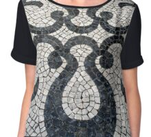 Swirly black and white patterns in cobblestone Chiffon Top