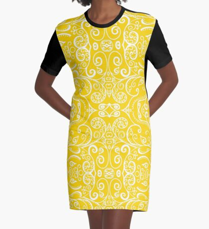 Silent Era, Yellow Graphic T-Shirt Dress