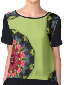 Red blossoms, Floral mandala-style  Chiffon Top