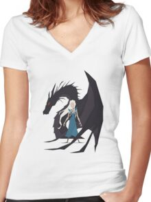 Game of Thrones :: Daenerys :: Dragon Women's Fitted V-Neck T-Shirt