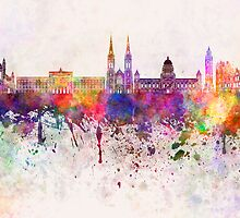 Belfast skyline in watercolor background by paulrommer