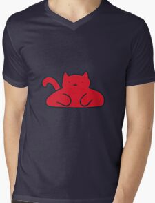 Red Cat Mens V-Neck T-Shirt