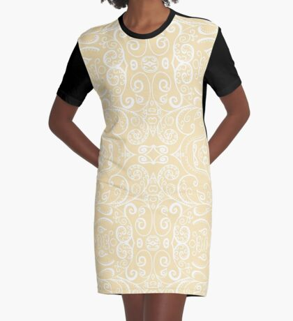 Silent Era, Cream Graphic T-Shirt Dress