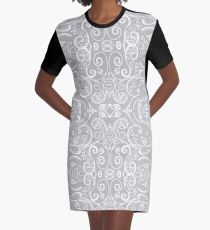 Silent Era, Gray Graphic T-Shirt Dress