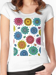 Flowers of Desire white Women's Fitted Scoop T-Shirt