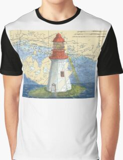 Lonely Island Lighthouse Ontario Map Cathy Peek Graphic T-Shirt