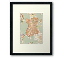 Victorian Green Peach Floral Corset Framed Print