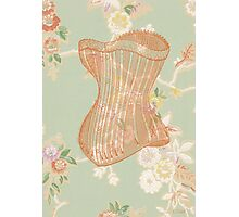 Victorian Green Peach Floral Corset Photographic Print