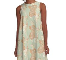 Victorian Green Peach Floral Corset A-Line Dress