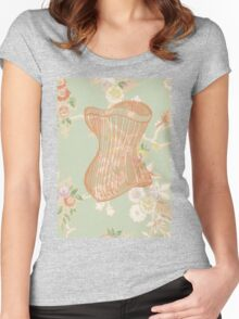Victorian Green Peach Floral Corset Women's Fitted Scoop T-Shirt