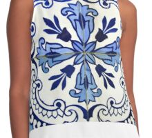 Blue and white patterned azulejos, Porto Contrast Tank