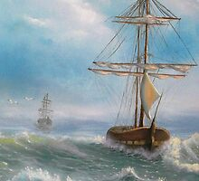 Ocean, Sea, Sailing, Fresh painting. by EddyRis