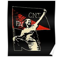 Anarchy Flag Woman - for dark backgrounds Poster