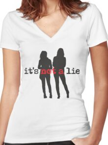 Cophine-It's not a lie Women's Fitted V-Neck T-Shirt