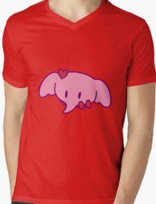 Pink Heart Elephant Face Mens V-Neck T-Shirt