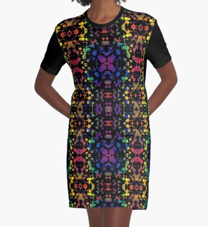Rainbow Tears, Black Graphic T-Shirt Dress
